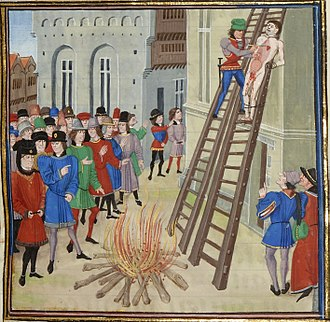 Hanged, drawn and quartered - The execution of Hugh Despenser the Younger, as depicted in the Froissart of Louis of Gruuthuse