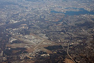 Baltimore–Washington International Airport - Aerial of BWI Marshall Airport with Downtown Baltimore in background.