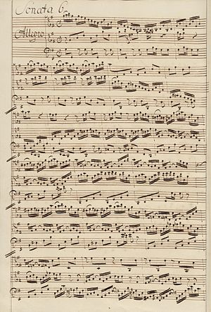 Six Sonatas for Violin and Harpsichord, BWV 1014–1019 - Manuscript of the first movement of BWV 1019, third version, copied by Johann Christoph Altnickol