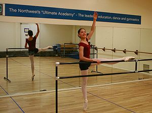 Pointe technique - A ballet dancer performing barre exercises