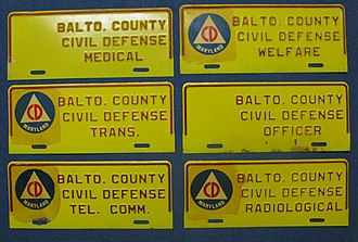 Historical Society of Baltimore County - Civil Defense automobile tags circa 1962