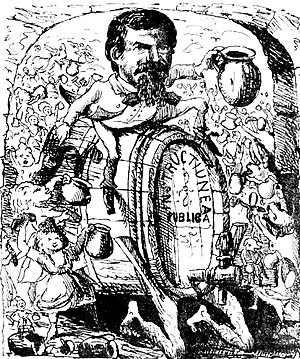 """Bonifaciu Florescu - Cartoon in Ghimpele, the liberal magazine, depicting Titu Maiorescu and the """"new direction"""" at Junimea (November 1875). The barrel ridden by Maiorescu is marked Instrucțiunea publică (""""Public Instruction""""), in reference to his job as Education Minister"""