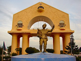 Banjul - Arch 22 at the entrance to Banjul. The statue of the former president was removed following democratic elections in 2016.