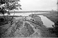 Barrier Between Waterbody And Drain Carrying Leather Industries Waste Under Construction - Science City Site - Dhapa - Calcutta 1993-06-25 0617.JPG