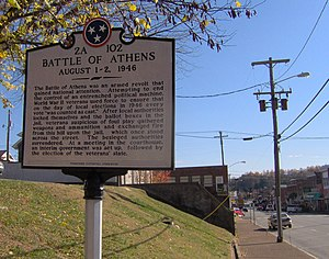 "Athens, Tennessee - THC marker at the ""Battle of Athens"" site"