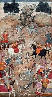 Battle between Arjuna's son Babhruvahana and the Nagas