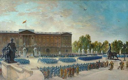 The Battle of Britain anniversary parade at Buckingham Palace in 1943. Battle of Britain Anniversary, 1943 - RAF Parade at Buckingham Palace Art.IWMARTLD3911.jpg