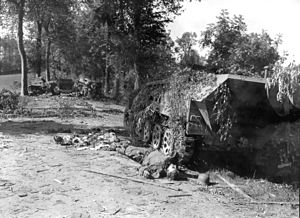 Operation Lüttich - Image: Battle of Mortain Devastated German Tank