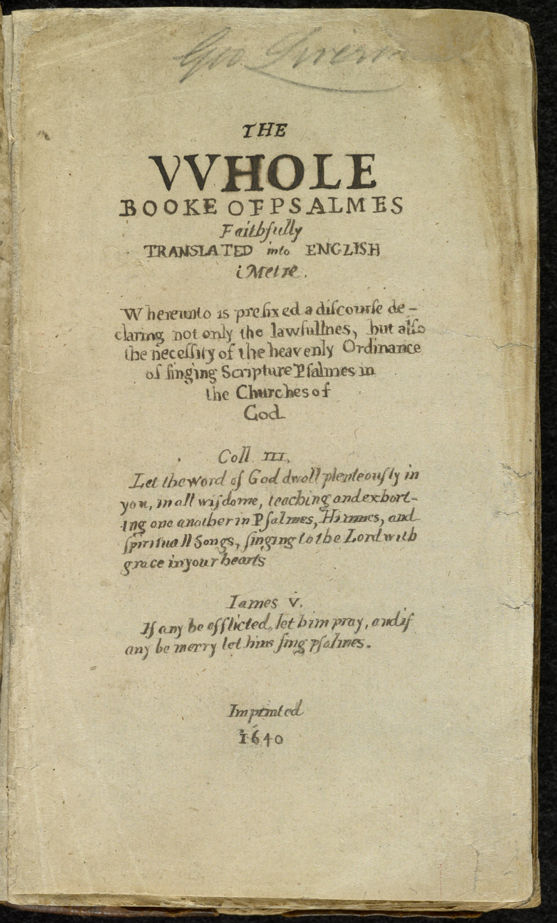 Title page of the Bay Psalm Book, printed in 1640 in Cambridge, Massachusetts.