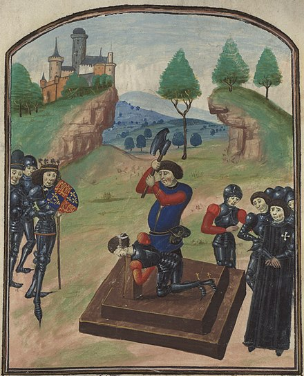 Edward IV (left) watching the execution of Edmund Beaufort, 4th Duke of Somerset at Tewkesbury, 1471 Beheading duke somerset.jpg