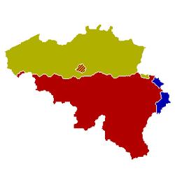 Carte Des Communautes De Belgique Communaute Flamande En Jaune Francaise Rouge Region Bruxelles Capitale Ou Les 2 Ont