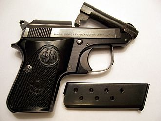 Pocket pistol - Beretta .25ACP Jetfire with the tip-up barrel open