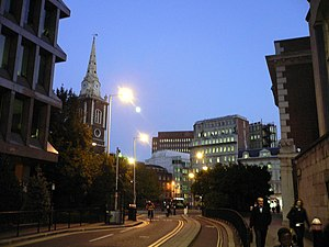 Bevis Marks - Looking east down Bevis Marks towards St. Botolph's Aldgate
