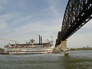 Big Four Bridge - The Belle of Louisville crossing under the Bridge in the 2008 Great Steamboat Race