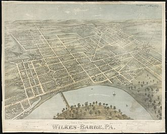 Wilkes-Barre, Pennsylvania - Wilkes-Barre as depicted on an 1872 panoramic map