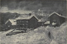 a painting of the farmyard in winter shows the barn, house and outbuildings around a central yard.