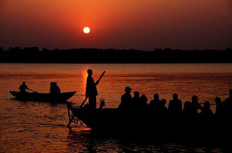 Sunrise over Varanasi, corrected for tilt