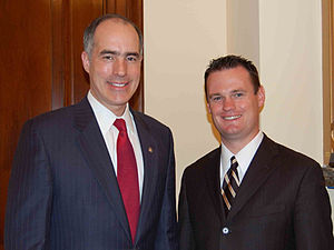 English: Senator Bob Casey (D-PA) meets with P...