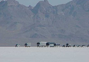 National Register of Historic Places listings in Tooele County, Utah - Image: Bonneville Salt Flats movie shoot