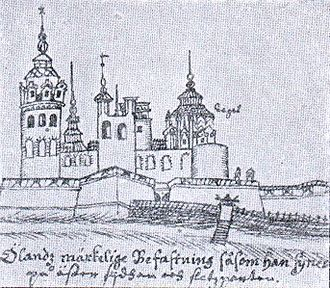 Borgholm Castle - Drawing of Borgholm Castle from 1634