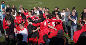 Scarborough Athletic F.C. - Scarborough Athletic players celebrate winning the Northern Counties East League 2012–13 Premier Division Title