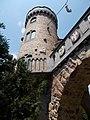 Bory Castle. Tower staircase and coat of arms. - 54, Máriavölgy Rd., Öreghegy, Székesfehérvár, Fejér county, Hungary.JPG