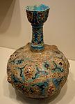 Bottle, Iran, Rayy, Seljuk period, 13th century AD, earthenware with pierced gilt bosses and black paint over turquoise glaze - Cincinnati Art Museum - DSC03993.JPG