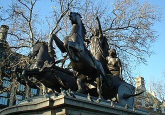 Scythed chariot - The statue of Boudica or Boudicea near Westminster Pier has her in a scythed chariot as commissioned by Prince Albert and executed by Thomas Thornycroft (completed in 1905).