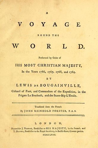Louis Antoine de Bougainville - Cover page of the English edition of Bougainville's travelogue (1772).