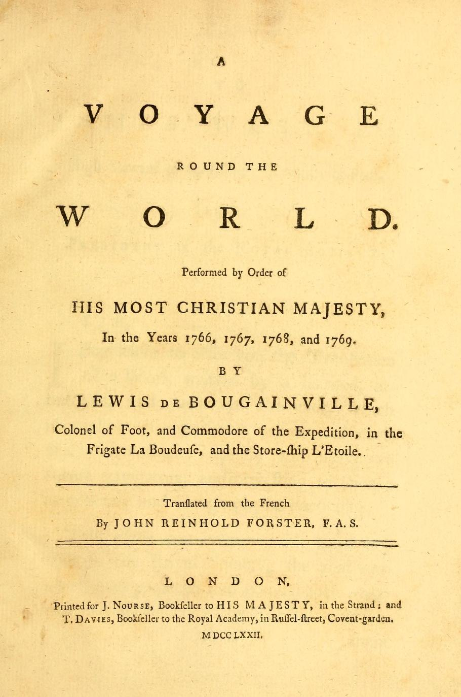 Bougainville Voyage around the World 1772