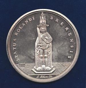 Bremen Roland - Image: Bremen Peace Medal 1648 by Blum, obverse
