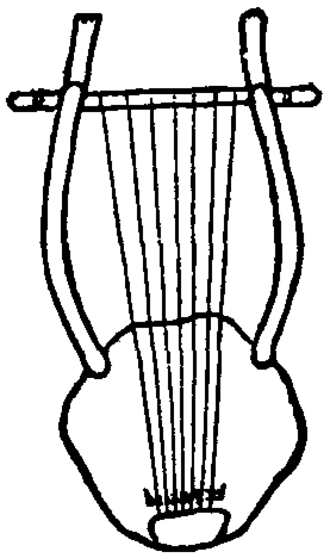 Chelys - Ancient Greek chelys or lyre from a drawing on a vase in the British Museum