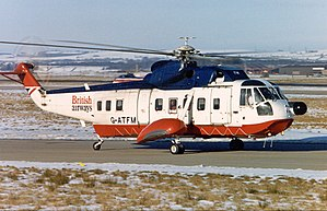 Airlink (helicopter shuttle service) - The service was operated by a British Airways Helicopters Sikorsky S-61N aircraft similar to this.