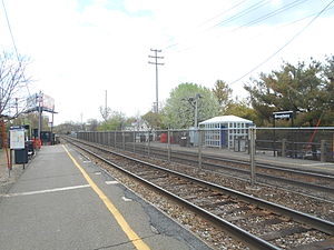 Broadway station (NJ Transit) - The station at Broadway seen from the Suffern-bound platform in May 2014.