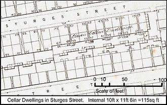 Broomfields, Bradford - Fig 5 Cellar dwellings in Sturges Street built c 1854