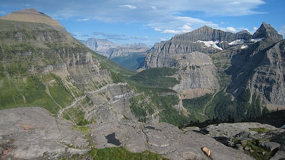 Thunderbird Mountain to right with Brown Pass centered Brown Pass in Glacier Park.jpg