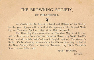 Florence Earle Coates - Invitation to the 1895-96 Browning Society elections, the year Mrs. Coates was elected president.
