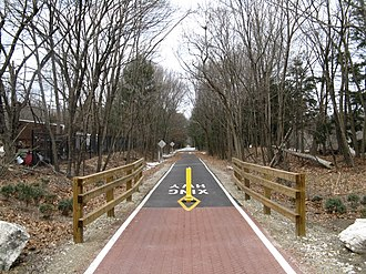 Boston, Clinton, Fitchburg and New Bedford Railroad - The Bruce Freeman Rail Trail in South Chelmsford, on the line once occupied by the Framingham and Lowell Railroad