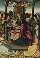 Bruges School, circa 1500 Virgin and Child Enthroned with Musical Angels.jpg