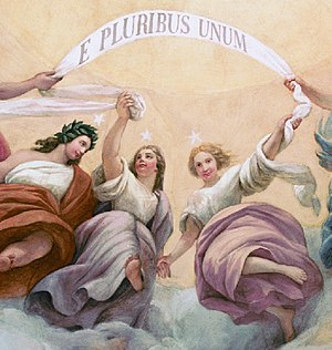 "The Apotheosis of Washington - Upside down above Washington is the banner E Pluribus Unum meaning ""out of many, one""."