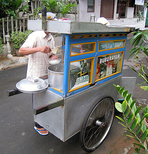 Bubur ayam - A bubur ayam street vendor cart frequents residential areas every morning in Jakarta.