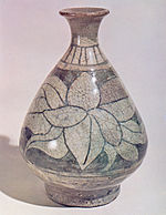Buncheong Bottle with Sgraffito and Underglaze Iron Flower Design.jpg