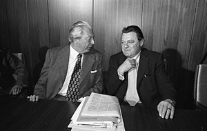 Kiesinger cabinet - Chancellor Kurt Georg Kiesinger (left) and Finance Minister Franz Josef Strauß (right).