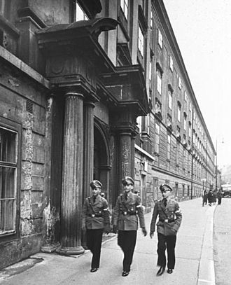 National Political Institutes of Education - Students at the entrance of NPEA Vienna-Theresianum in Vienna, 1940