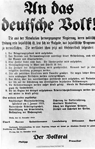 Revolutionary Stewards - Announcement poster of the revolutionary government of 12 November 1918, signed by representative of the Revolutionary Stewards, Emil Barth.