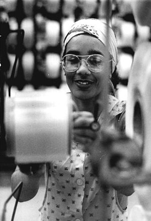 "Immigration to Germany - A so-called ""guest worker"" (Gastarbeiterin) from Cuba, working in an East German factory, 1986"