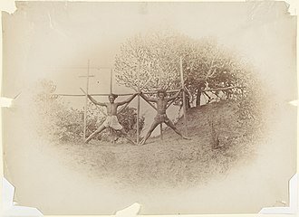 "Crucifixion - ""Burmese Dacoits Readied for Execution"", photography by Willough Wallace Hooper (c. 1880). ""Dacoit"" is the Anglicized form of the Hindustani word for ""dakait"" meaning bandit."
