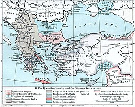 Map of the Balkans and Anatolia. The western Balkans are almost entirely dominated by Serbia, and the eastern are divided between Bulgaria and Byzantium. Anatolia is controlled by the Turks, with the Ottoman emirate in the northwest, opposite Byzantium, highlighted. Small Christian exclaves in Anatolia are Trebizond in the northeast and Armenia in the southeast. In the Aegean, most islands belong to Latin states, especially Venice.