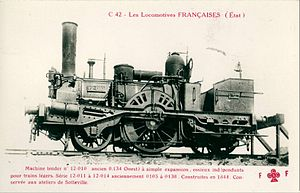 Chemins de fer de l'Ouest - CF de l'État 2-2-2T No 12-010, formerly CF de l'Ouest No 0134. The locomotive was built in 1844.