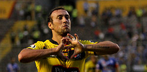 Brahian Alemán - Alemán celebrating scoring a goal for Barcelona SC